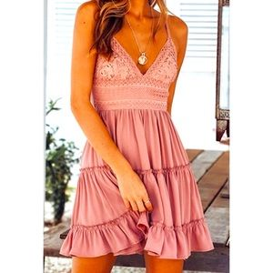 V-Neck Tie Back Empire Waist Lace Dress Sz S